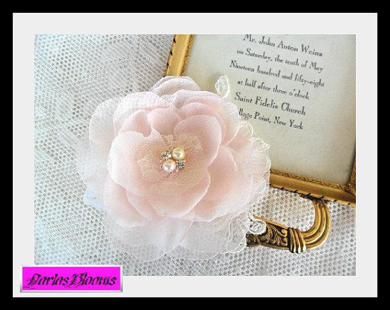 Pink Hair Flower, Blush Pink Hairpiece, Bridal Hairpiece, Wedding Hair Accessory, Bridesmaid Hairpiece, Lace Hairpiece, Bridal Hair Flower by DarlasBlooms