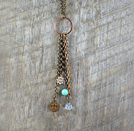 Tassel Necklace Geometric Necklace Circle Jewelry Turquoise Beaded Fleur de Lis Rhinestone Flower Boho Layering Necklace – Hadlee by laurenblythedesigns
