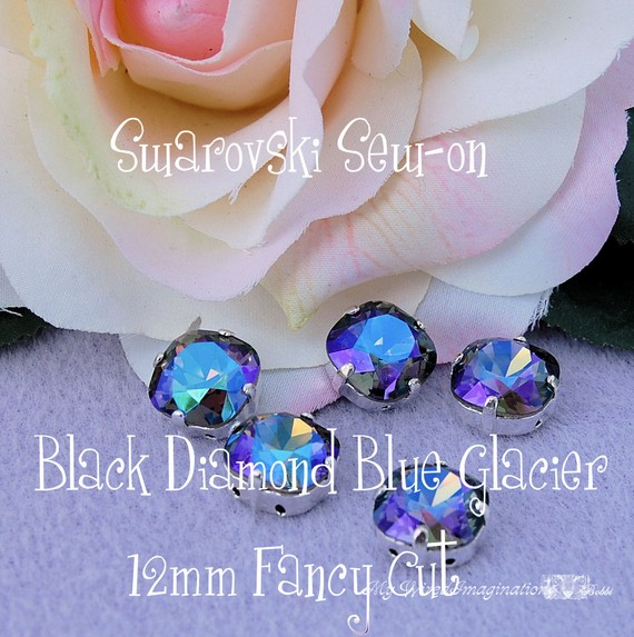 Black Diamond Blue Glacier Sew On Swarovski Crystal 12mm Fancy 4470 With Prong Setting Crystal Sew On Craft Supplies Jewelry Making by MyWiredImagination