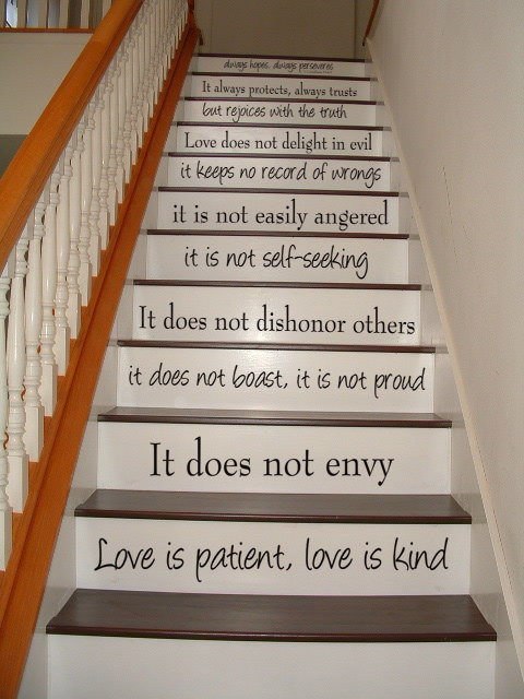 Love is Patient, Love is Kind – 1 Corinthians 13 – STAIR CASE – Bible Art Wall Decal Wall Stickers Vinyl Decal Inspirational Quote by VillageVinePress