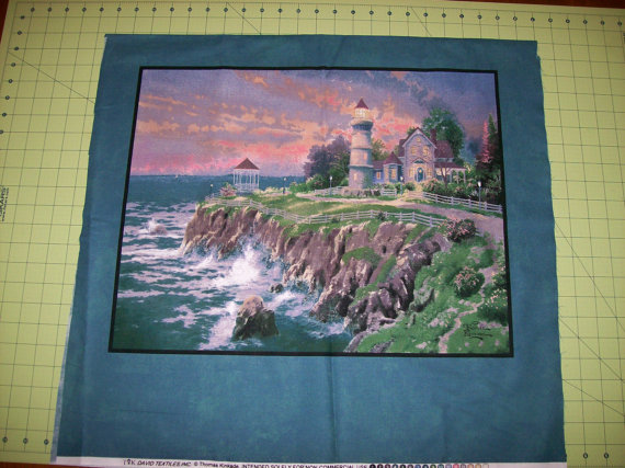 A Gorgeous Thomas Kinkade Lighthouse By The Sea Fabric Panel Free US Shipping by CountryCharmFabrics