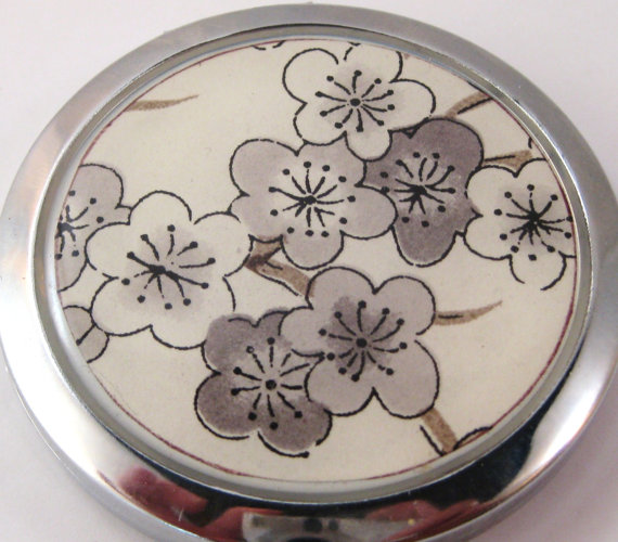 Grey Plum Blossoms. Compact Mirror by Glassology
