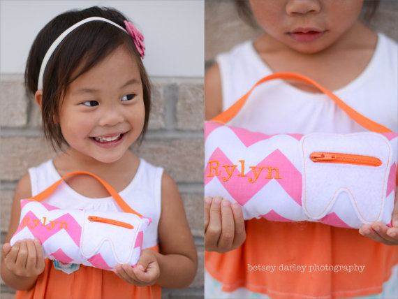 Girl's Personalized Tooth Fairy Pillows by cosmicthimble