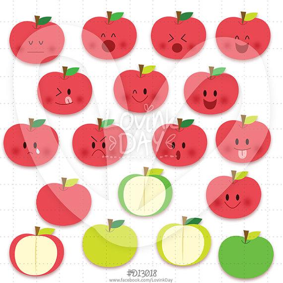 Apples Emoticon Clip Art Set – D13018 by LovinkDay