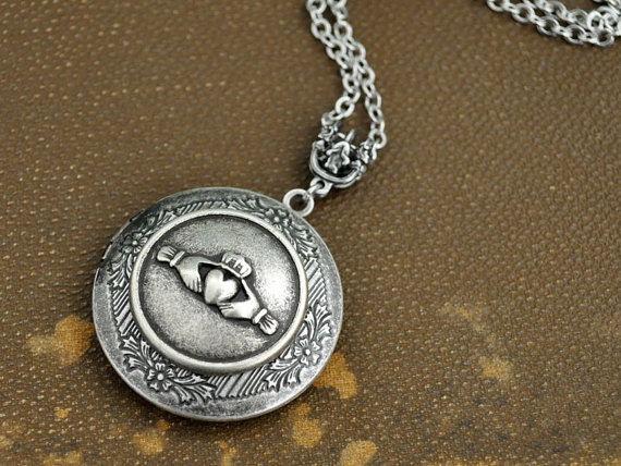 silver locket necklace, Claddagh Locket Necklace, Silver Locket, locket necklace, photo locket, Claddagh by plasticouture