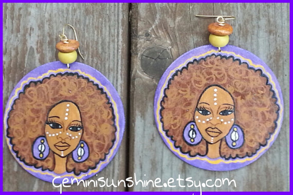 Purple Afro Mama Hand Painted Earrings by Geminisunshine