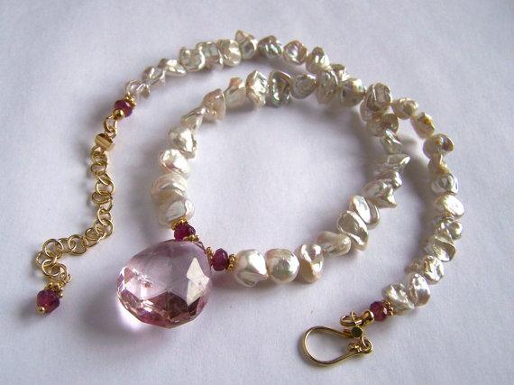 Rock Crystal, Pink Tourmaline, Keshi Pearl Necklace Gold Vermeil Regal Royal Chic Romantic Elegant Simple Bijoux PinkOwlJewelry Jewellery by pinkowljewelry