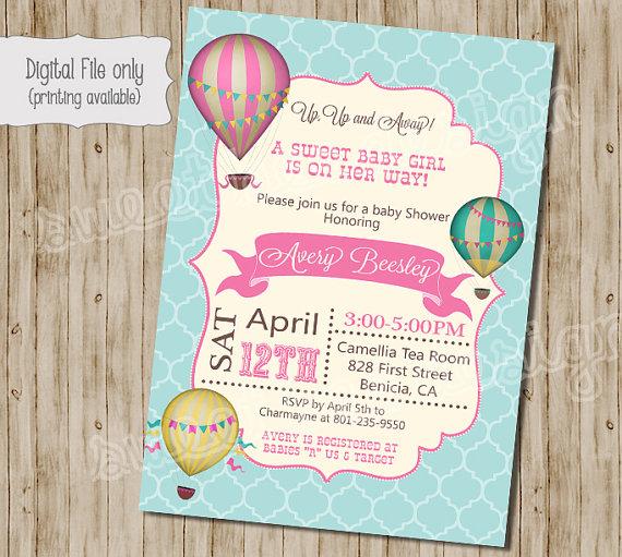 Baby Shower Invitation Hot Air Balloon