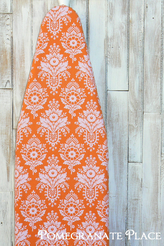 Ironing Board Cover – Tangerine Damask by PomegranatePlace