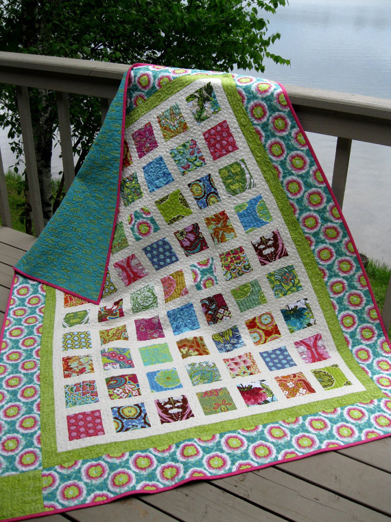 Simply SOUL BLOSSOMS 60×72 Amy Butler lap quilt by pinetreelodge