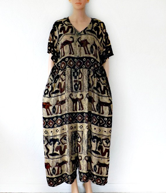 Vintage Tribal Jumpsuit, BILA 80s Bohemian Jumpsuit Dress, Wideleg Jumpsuit. Vintage Street Style, Tribal Pant / Dress, Women's Vtg Jumpsuit by luvofvintage