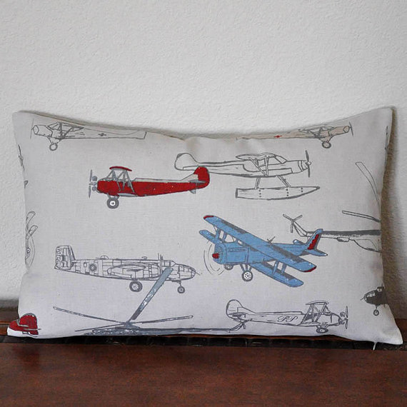 Vintage Air Lumbar Pillow Cover in Pewter Airplane Pillow Boys Room Pillow Den Pillow by PillowMio