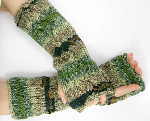 Cable Knit fingerless gloves unisex knit fingerless mittens long arm warmers Cable knit beige brown sage green texting gloves hand warmers by piabarile