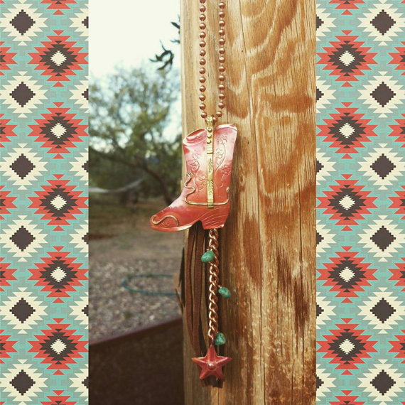 Copper Cowboy Boot Necklace – Leather Tassel Necklace – Genuine Turquoise – Copper Star – Cowgirl Jewelry – Boho Necklace by HeartofaCowgirl