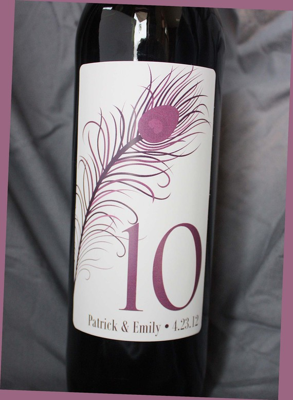 Table Number Wine Label..1-10 .. .Choose your Color … PEACOCK by PaperCrabb