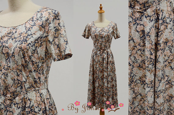 80 Vintage dress retro Laura Ashley designer cotton print flower floral fall princess line short sleeve full skirt brown sundress size small by ByJuliet