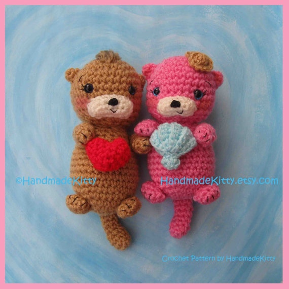 Otter Couple Floating in Love Amigurumi PDF Crochet Pattern by HandmadeKitty by handmadekitty