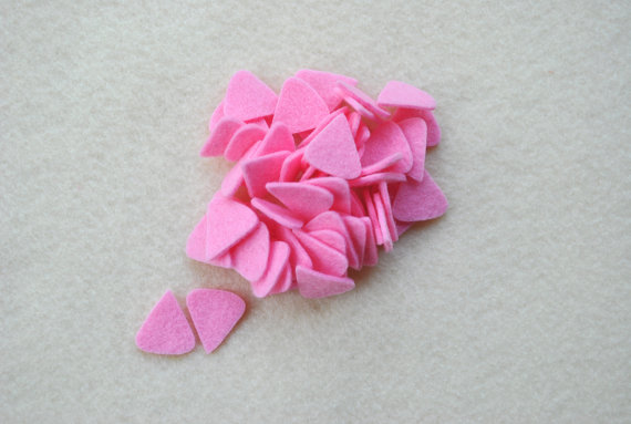 Die Cut Felt Triangles / Noses / Ears in Cotton Candy Pink, OR your choice of colors, Set of 100 by ifeltsprightly