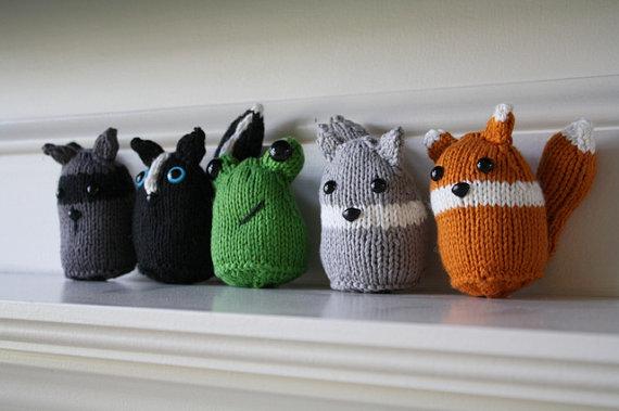 Woodland Friends – Raccoon – Fox – Wolf – Frog – Skunk – PDF Knit Pattern – Instant Download by TheWigglyBridge