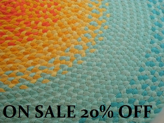 Recycled Hand Braided Round Area Rug –100% Cotton Floor Rug in Mint Green and Yellow – 8 Sizes Available by greenatheartrugs
