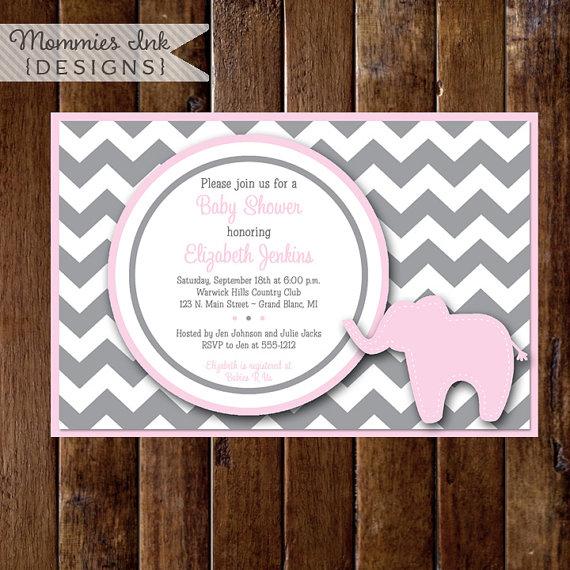 Preppy Chevron Elephant Baby Shower Invitation, Gray and Light Pink, Elephant Shower Invitation, Elephant Theme, Gray Chevron Invitation by MommiesInk