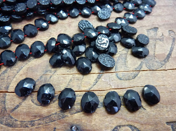 Rare Antique Mourning Jet Glass Beads 9x7mm Oval (12) JET122 by houseoftwinkle