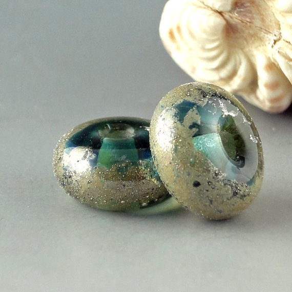 Handmade Lampwork Glass Beads – Atlantis Treasure by LazyCatBeads
