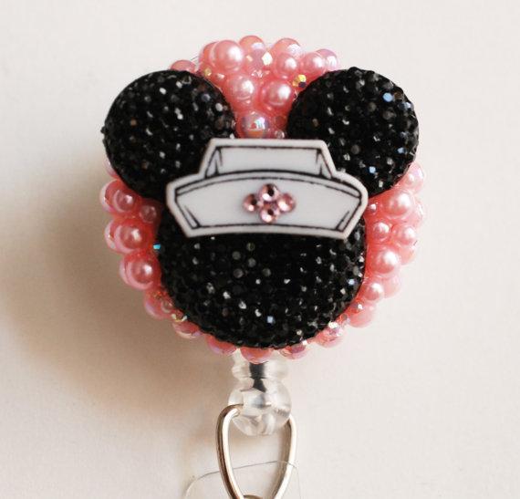 Nurse Minnie Mouse Black Silhouette ID Badge Reel – RN ID Badge Holder – Zipperedheart by ZipperedHeart