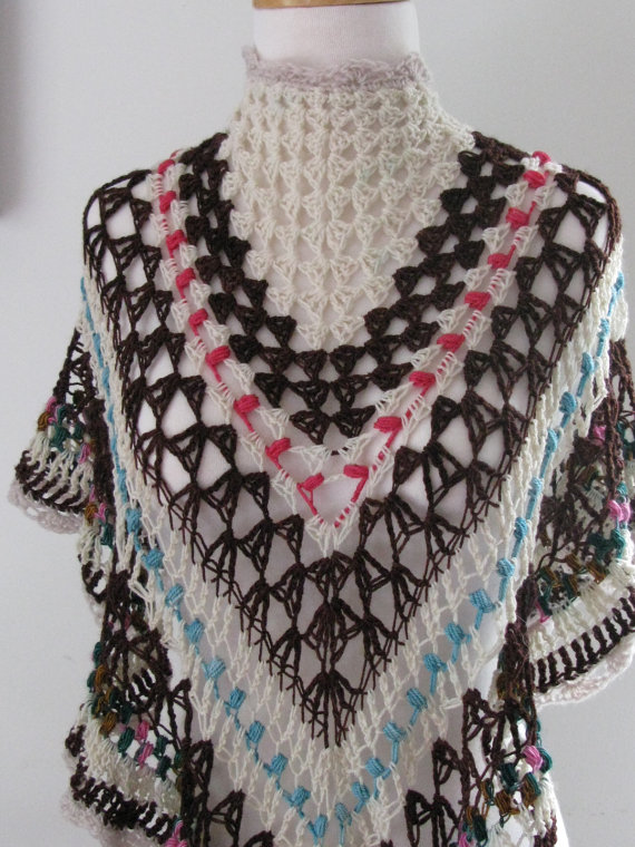 Boho Gingerbread Shawlette Scarf Wool Crochet Brown White Multi Ruffles by KippysSoMature