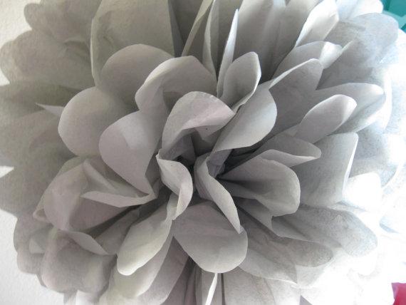 Tissue Paper Pom Pom – Grey by SweetandSavvyDesigns