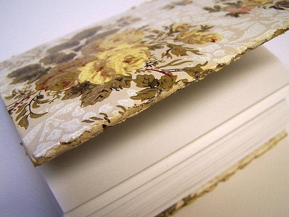 Blank Journal Vintage Wallpaper Cover Longstitch Binding – by sandySTC