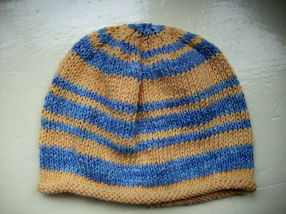 Classic cotton Baby Hat knit blue yellow by SpinningStreak
