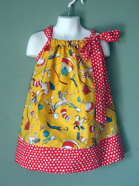 Yellow Cat in the Hat Custom Pillowcase Dress by MyHeart2