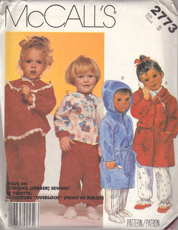 Sewing Pattern Vintage Toddlers Childrens Robe Pajamas PJs 1986 McCalls 2773 size 5 serger by Txalteredart2