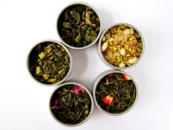 You Pick Tea Sampler – 5 Flavors – Green Tea, Oolong Tea, Black Tea, Yerba Mate, Tisanes, Flowers, Pu erh by FusionSweets