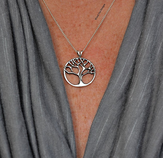 Sterling Silver Tree of Life Necklace – Family, Bonding, Ancestry, Children, Woodlands, New Mom, Love by wiredoutdesigns
