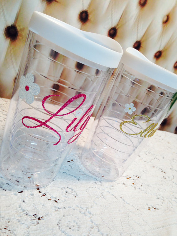 Custom Flower Girl 16oz. Tumbler is the perfect bridal shower, wedding gift. by TheGlitterSquad