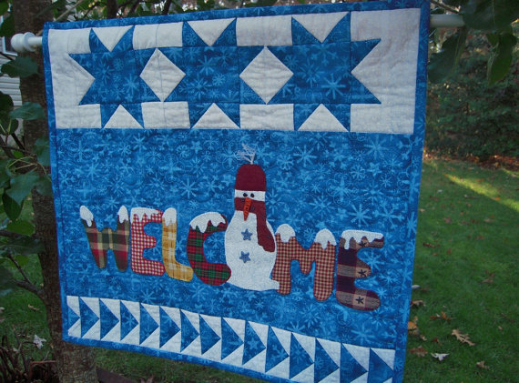 Quilted Wall Hanging, Christmas Quilted Snowman, Welcome Winter Stars and flying geese by Sewsouthernquilts