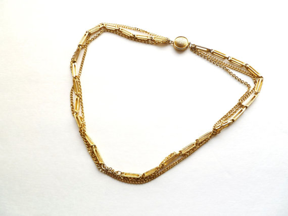 Vintage Triple Fashion Chain Necklace COK306 by tangerinevintage
