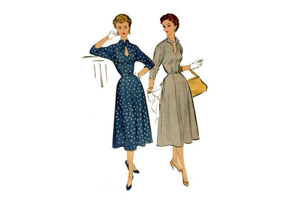 1950s Keyhole Dress Pattern Teardrop Keyhole Neckline Wing Collar Flared Skirt Push Up Sleeves McCalls 9816 Bust 32 Vintage Sewing Pattern by PrettyPatternShop