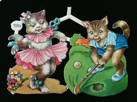 Kitty Cat Golfer & Dancer Embossed Die Cuts – Vintage Scrapbook Mixed Media Art Crafts Upcycle by HolidayKitschklatsch