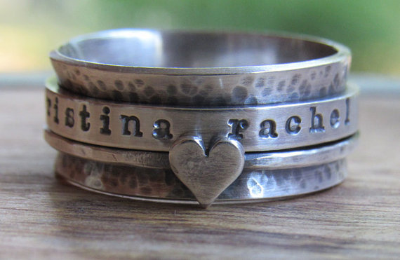 Rustic Ring Spinner Personalized Ring Sterling Silver Jewelry Hand Stamped Ring by JoyfullyCraftedShop