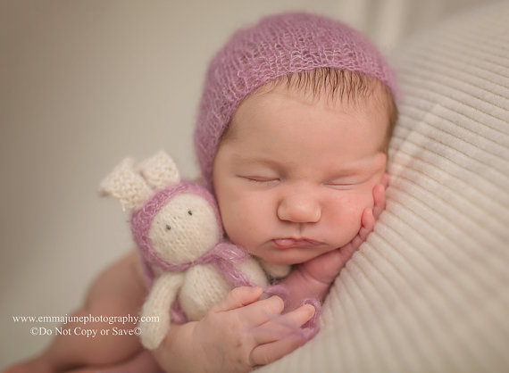 Newborn Photo Prop Knit Bunny & Bonnet Set, Vintage Pink Baby Mohair Bonnet, Newborn Baby Girl Photography Prop, Handknit Stuffed Baby Toy, by PhotoPropsByMissLene
