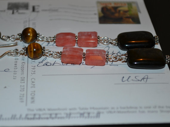 Tigereye Cherry Quartz Bronzite 4 inch Dangle Earrings in Pink and Browns on Sterling Silver by bm1coastsbeadworks