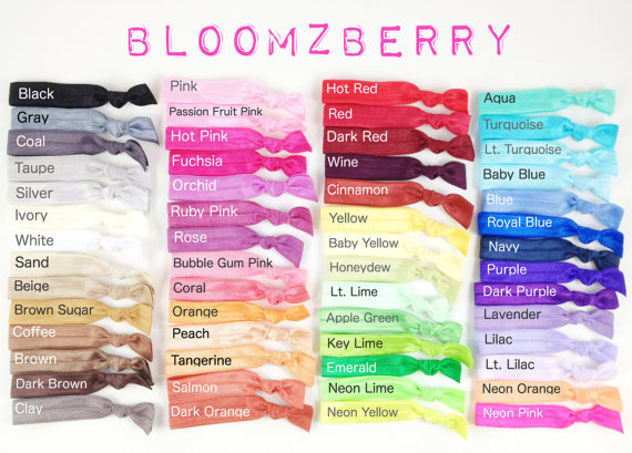 Elastic Hair Ties – Assorted Colors – You Choose Color – No Crease – 65 Colors Available – Toddler / Teen / Woman – Sport / Yoga / Spring / Summer by Bloomzberry