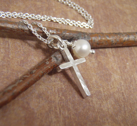 Dainty Silver Cross Necklace – Hammered Cross – Simple Cross Necklace – Cross and Genuine Birthstone – Photo NOT actual size by filigreepheasant