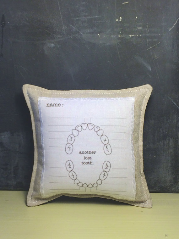 tooth fairy pillow.personalized. boys or girls tooth pillow with chart. as seen in FAMILY FUN MAGAZINE. by looploft