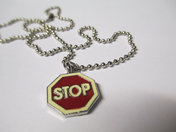 Vintage 90's Stop Sign Necklace DEADSTOCK by SHOPHULLABALOO