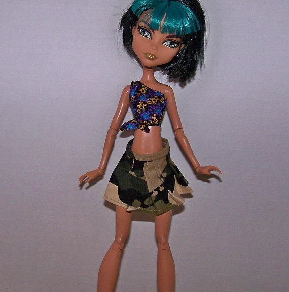 SALE! Handmade pleated camouflage skirt for Monster High dolls by KatzDollz