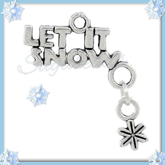 5 Silver Let It Snow Charms with Snowflake dangle by sugabeads
